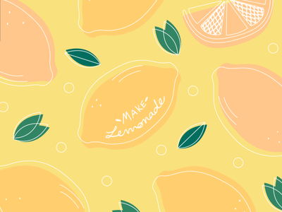 Lemonade vector illustration vector pink leaves summer yellow lemonade lemons adobe fresco adobe photoshop adobe adobe illustrator