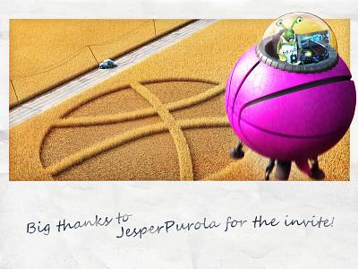 Hello world of Dribbble! spaceship alien crop circles