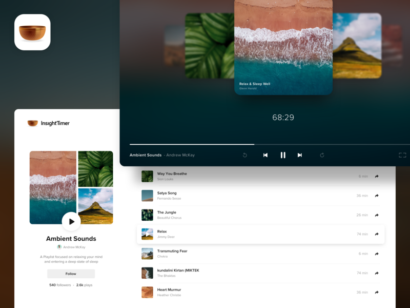 Insight Timer - Playlists for web web uiux ui userinterface player ui media player media meditation app meditation music player web player website design playlists player website