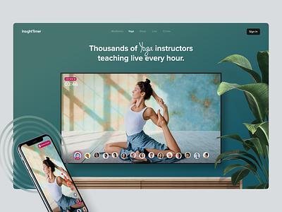 Yoga Landing page livestream live websites insight timer meditation yoga app yoga uidesign ui website design landingpage landing web design website