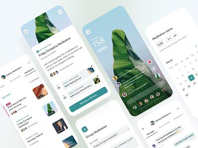 Group Meditation calendar group mobile ios app app design mobile design