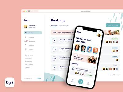 Blys Mobile App & Dashboard blys delivery shirt massage sign up booking dashboard mobile ui app ui mobile app