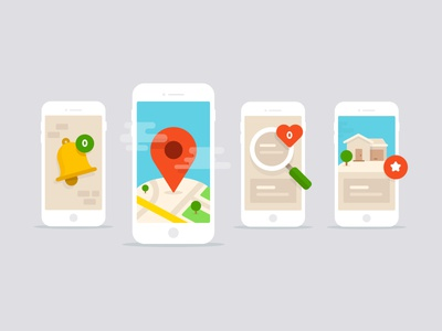 Mobile Notifications (Update) ios illustration mobile bell alarm notification pin map search house magnifying glass