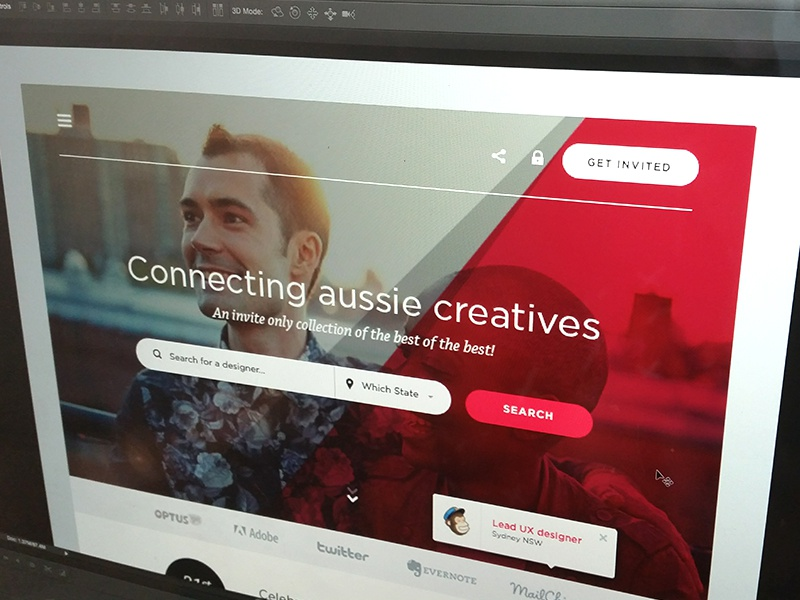 Creative Aussies - Landing page preview website web design homepage landing page search red