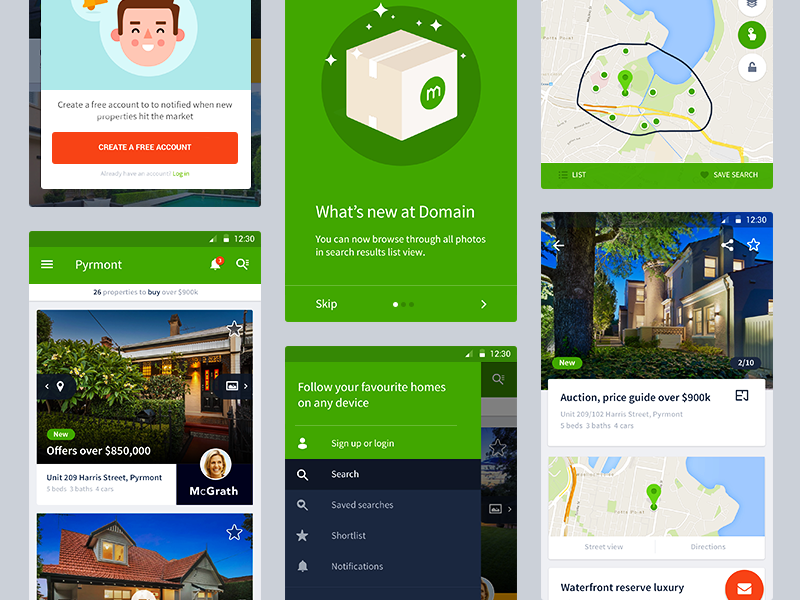 Android App -Material design update android domain material design menu drawer cards properties gallery real estate agent