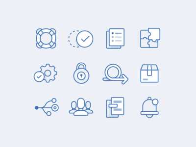 Project Icons - Atlassian users workflow package agile lock settings puzzle documents success support outlined icons