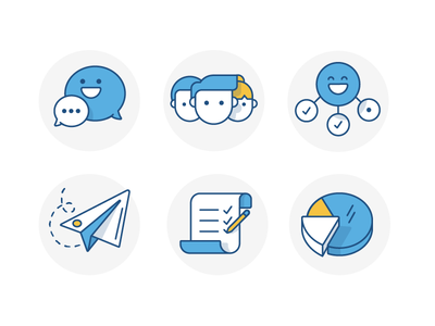 Service Desk - Welcome Icons chart list email manage users chat message atlassian icon illustration