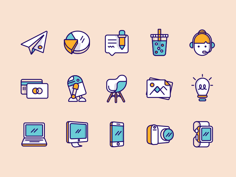 Iconset Update - Atlassian users avatars document camera devices graph email cloud printer illustration iconset icons