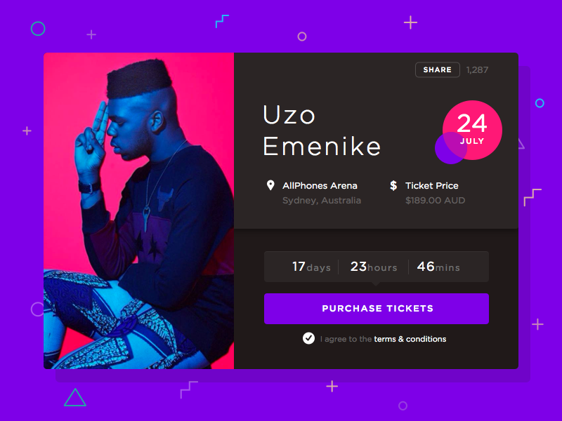 Music   Event Box sketch free freebie retro ui user interface app ticket purchase event counter music