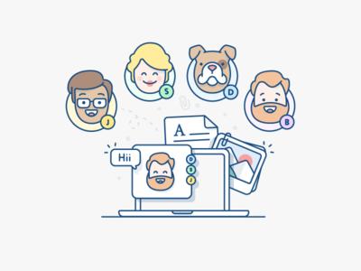 illustration - Atlassian illustration character man girl dog beard chat image document laptop atlassian