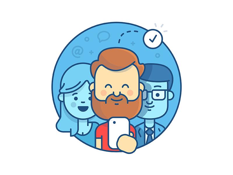 Login illustration for JIRA hipster beard ios iphone office atlassian jira team character illustration