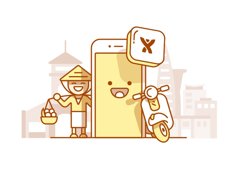 Mobile - t shirt design scooter illustration mobile app saigon ho chi minh vietnam character atlassian