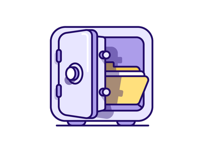 Safe Documents - illustration icon purple medical documents folder safe locked lock illustration