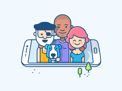 Teamwork Illustration - Mobile pirate atlassian outlinned character illustration office family teamwork team mobile ios jira