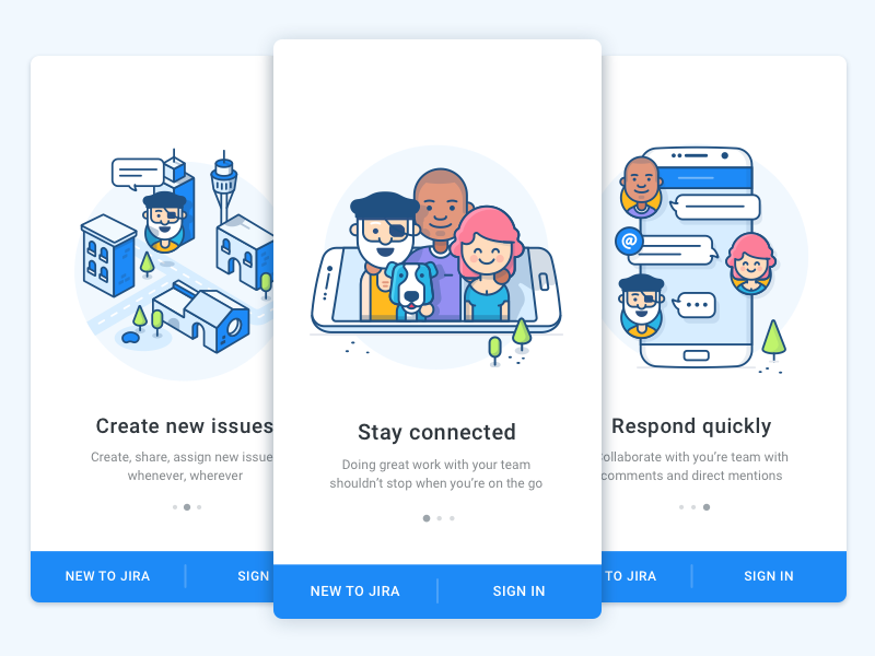 Onboarding Android - JIRA onboarding on-boarding illustrations intro screens android ios mobile value props character team chat city