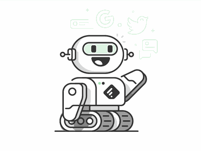 Feedly - Bot illustration character feed social robot outlinned feedly bot illustration
