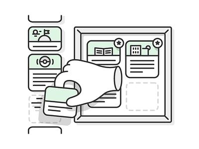 Feedly - Boards illustration illustration feedly blog posts shortlist star boards list hand