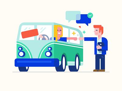 Car loan - illustration first pump chat dealer car sale loan vw van car illustration