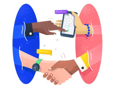 Portal connect - Illustration hand shake business remote location character portal scrum mobile illustration connect collaboration team
