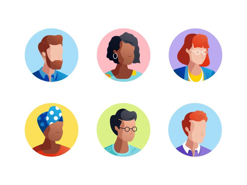 Character avatar illustrations