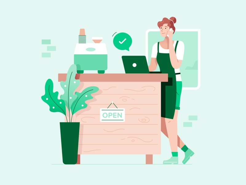 Hospitality illustration illustration coffee shop apply approved character prospa lady plant store shopfont business owner illo