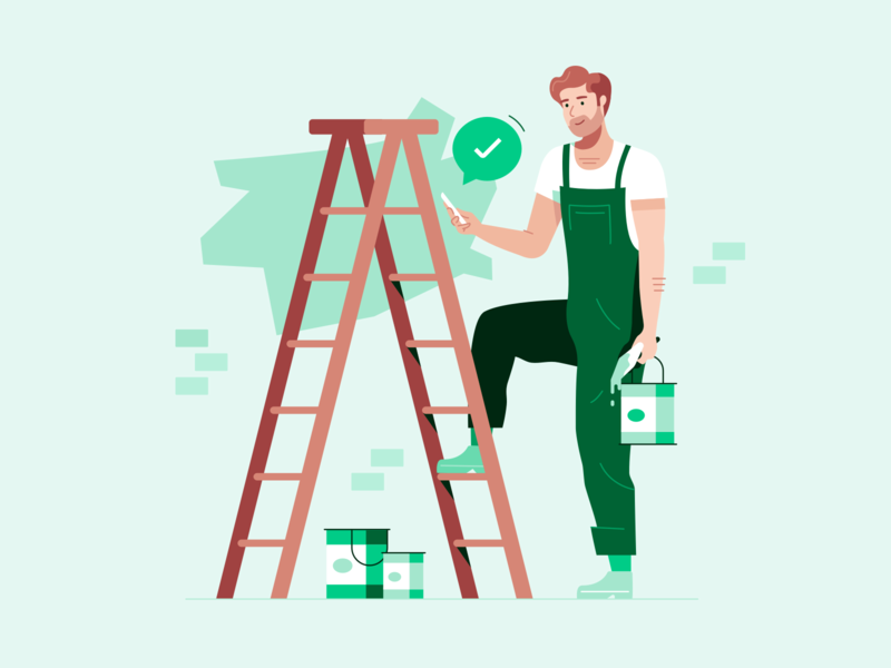 Trade Illustration apply approved application business painters green prospa ladder tradie trade painter man character illustration