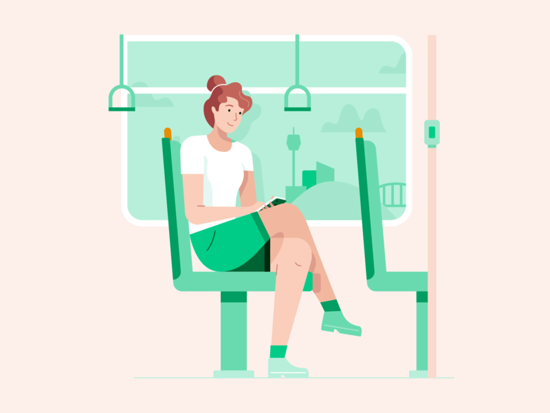 Transit bank prospa apply phone sydney transport travel bus transit train lady illo character illustration