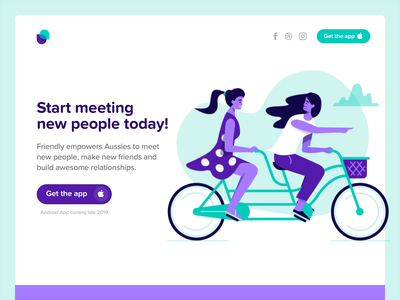Make new friends - Sydney, Melbourne, Brisbane, Perth, Australia girls characters landing page illustration landing  page website landing page app australia perth brisbane melbourne sydney meetup meet friends make new friends meet new people friends app ios app friendly app friendly