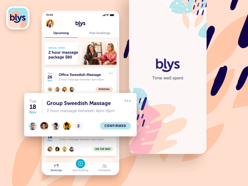 Blys - App homescreen interface user interface design app branding patern profile list booking feed massage ui design user interface ux ui mobile application ios app