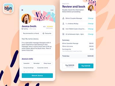 Blys - App Profile interface app ios application mobile ui ux user interface ui design massage feed booking list profile patern app branding user interface design