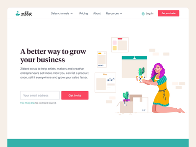 Zibbet - Landing page website gif loop animation hero shop ecommerce plant lady illustration user interface ui design site website landing page zibbet