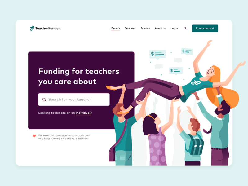 TeacherFunder   Donate landing page teacherfunder funding branding ux ui landing page ui homepage website landing page landingpage landing school character illustration