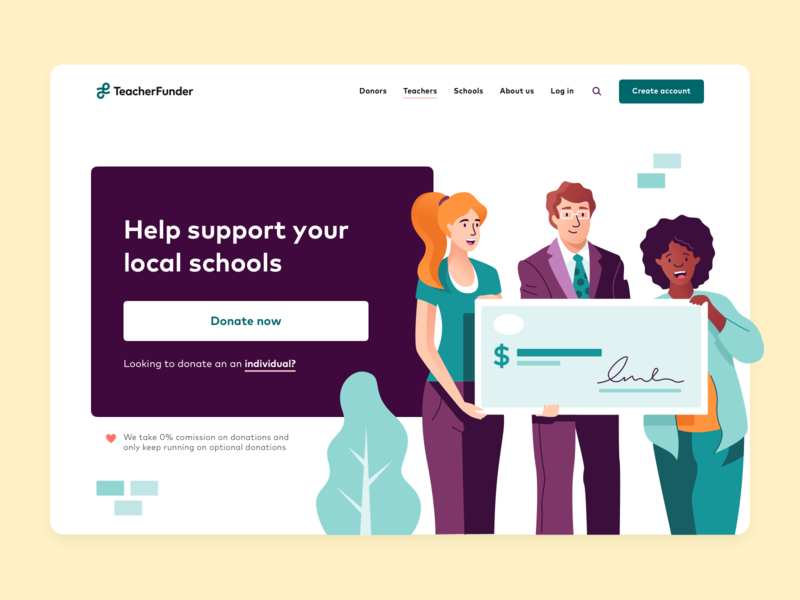 TeacherFunder - Donate landing page ux ui teacherfunder teachers school funding homepage landing page landingpage landing website branding character illustration