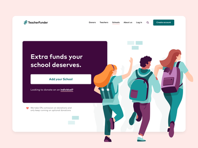 TeacherFunder - Schools landing page ux ui charity funding teacherfunder teacher web design landingpage landing website design website branding character illustration
