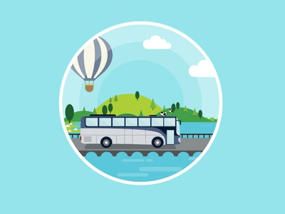 Traveling concept for online ticket company tree caw airballoon bride river bus traveling nature summer illustration travel
