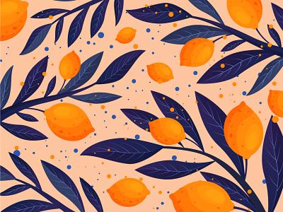 Lemon pattern floral fruit background pattern lemon summer leaf nature illustration