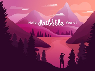 Hello Dribbble! hiking wildlife nature sky cloud panorama view forest lake mountain silhouette hello dribble first shot sunset