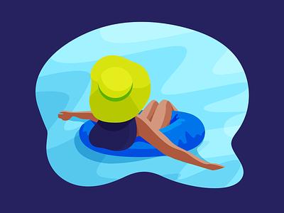 Summer vibe rest sun hat bikini swim water sea pool relex vibe summer character girl illustration