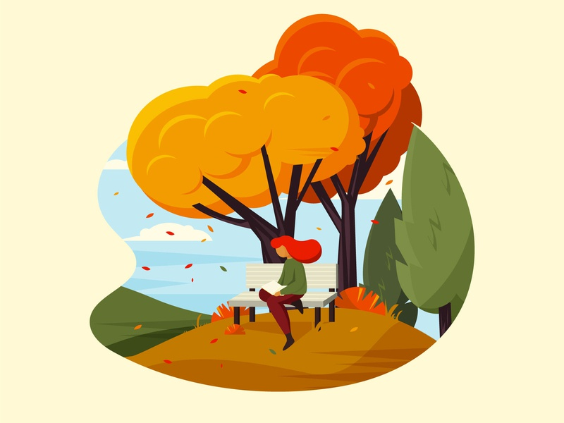 Autumn day weekend leasure outdoor park chair reading leaf trees fall autum character girl illustration