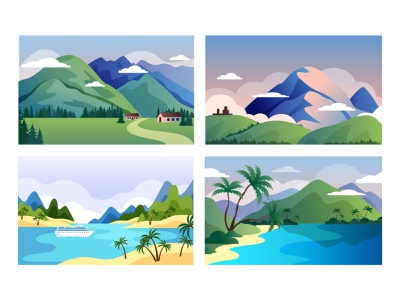 Nature illustration for landing page kazbegi holiday tropic palm beach hawai caucasus mountains landing sea summer illustration