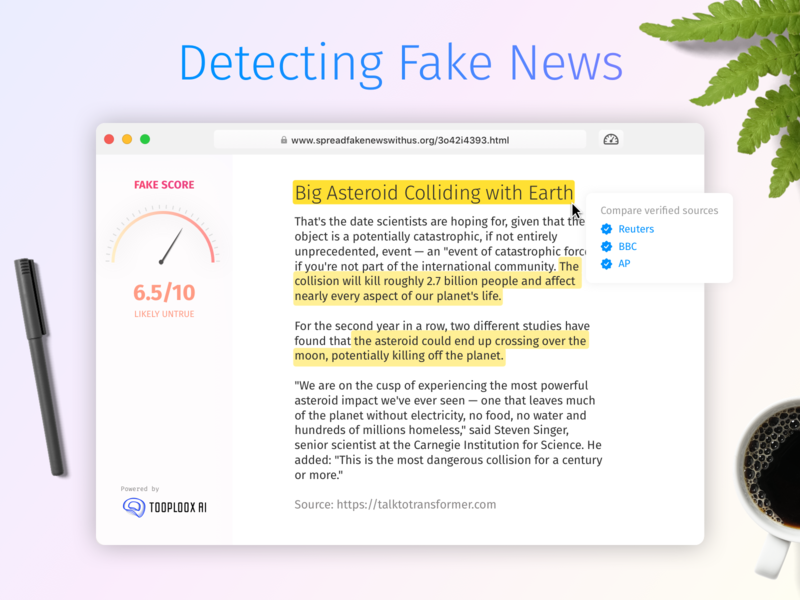Detecting Fake News With AI news ui ux app browser extension macos score text analysis fake news browser machnie learning ai artificial intelligence