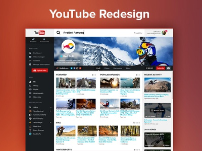 YouTube Redesign (Profil page) ui ux webdesign youtube redesign user interface google video