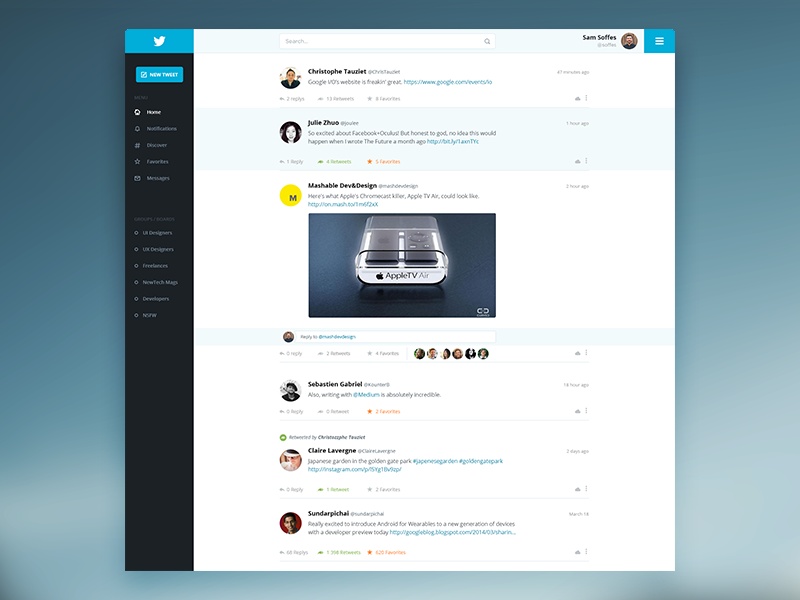 Twitter Redesign - Cleaner version redesign twitter ui clean flat web blue interface