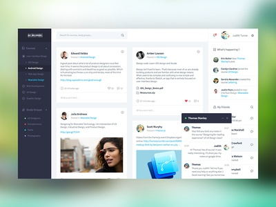 Social Network social ui user interface clean flat google post share feed