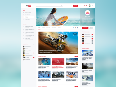 YouTube Redesign V2 youtube redesign clean interface google ui ux video white