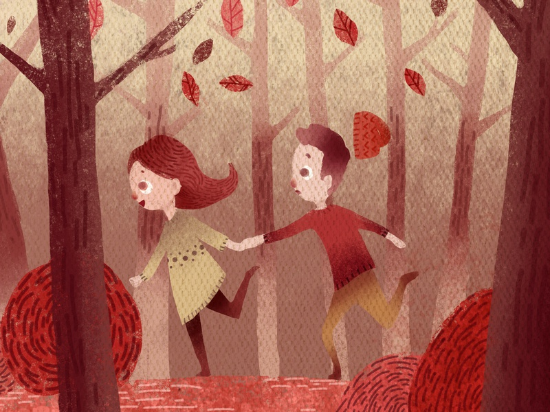 Running In the Woods children book trees nature woods cute character design character storybook colorful children photoshop illustration drawing