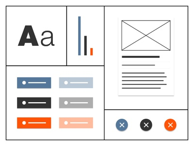 Design System Elements blue orange black clean design system app web ui design typography ui design branding product design
