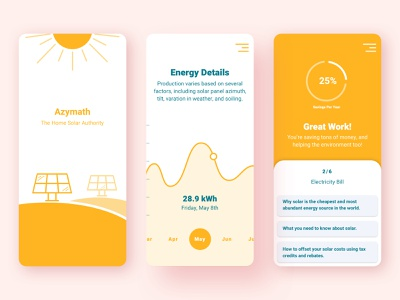 Solar Calculator product blue yellow calculator cute design ux clean web app ui product design