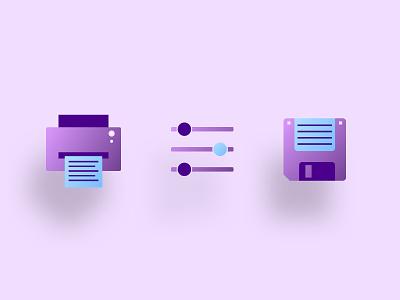 Gradient Icon Set app vector ui design illustration blue purple utility gradient icon gradients
