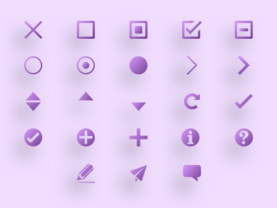 Icon Font Set edit sort add reset refresh checkmark check radio buttons radio button checkboxes checkbox close utility cute purple icon font icons set font icons